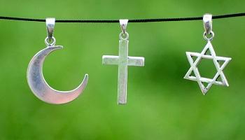 Symboles des 3 religions monothéistes : Christianisme Judaïsme et Islam
